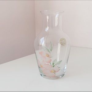 floral print handcrafted etched crystal small vase